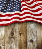 American flag on boards. American flag and wooden boards Royalty Free Stock Photography