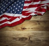 American flag on boards. American flag and wooden boards Stock Image