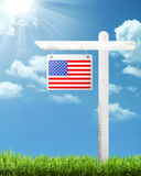 American flag on the wooden plank Stock Photo