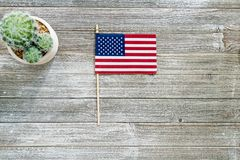 American flag on wooden table Royalty Free Stock Photos