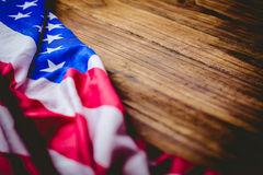American flag on wooden table Royalty Free Stock Images
