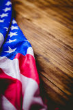 American flag on wooden table Stock Photos