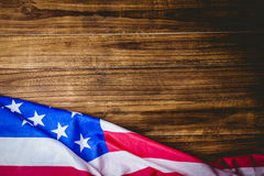 American flag on wooden table Stock Photo