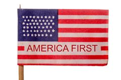 USA. American flag with the words America First Royalty Free Stock Image