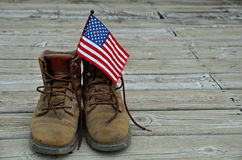 American flag in work boots Stock Images