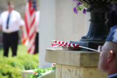 American Flag wrapped and resting Royalty Free Stock Photos