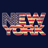 American flag and 'New York' typography. Label for t-shirt Royalty Free Stock Photo