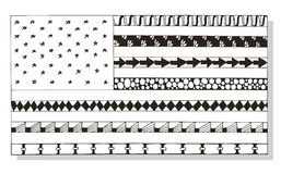 American flag zentangle stylized, vector, illustration, pattern, Royalty Free Stock Photography
