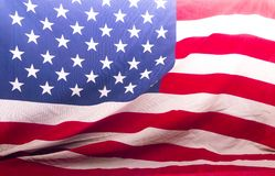 American flagged close up forming a background. Patriotic American flag beautifully shown close up across the entire background royalty free stock photos