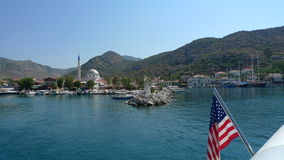 American flagged yacht from our Greek island scenery. Life is beautiful here stock photo