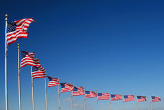 American Flags. Ring of American Flags blowing in the wind at the Washington Monument royalty free stock photography