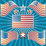American Flags. Set of American Flags for designers Stock Image