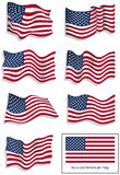 American flags. Set of 8 vector illustrations of the American flag Stock Photos