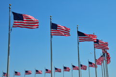 American Flags. Surrounding the Washington Monument Royalty Free Stock Image