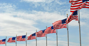 American Flags. At the Washington Monument in DC royalty free stock photography