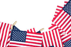 American flags. Border a pure white background. Space left open for copy stock photos
