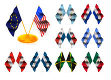 American flags 2. Guatemala, paraguay, panama, nicaragua, peru, honduras, jamaica, mexico Royalty Free Stock Photo