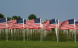 American Flags. On the Floyd Bennett Field commemorating victims of the September 11, 2001 attacks Royalty Free Stock Photography
