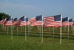 American Flags. On the Floyd Bennett Field commemorating victims of the September 11, 2001 attacks stock images
