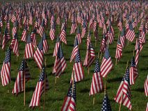 American Flags. Lots of American Flags to mark those killed on Sept. 11, 2001 stock photography