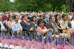 American flags for 76 new American citizens. At Independence Day Naturalization Ceremony on July 4, 2005 at Thomas Jefferson's home, Monticello, Charlottesville Royalty Free Stock Photo