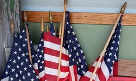 American flags against corner wall of home Royalty Free Stock Photography