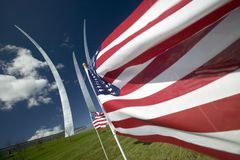 American flags and Air Force Memorial Royalty Free Stock Photos