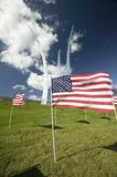American flags at base of three soaring spires of the Air Force Memorial at One Air Force Memorial Drive, Arlington, Virginia in W Stock Photo