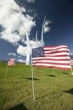 American flags at base of three soaring spires of the Air Force Memorial at One Air Force Memorial Drive, Arlington, Virginia in W Stock Photo