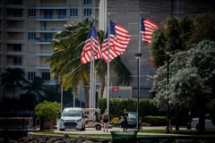 American flags in Bayfront Park of Miami. Miami, FL, United States - October 11, 2016: American flags in Bayfront Park of Miami Royalty Free Stock Image