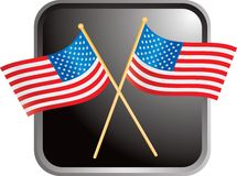 American flags on black web button Stock Image