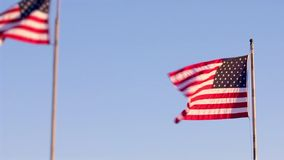 American flags in flag pole waving. American flags blowing in the wind in a clear blue sky background stock footage