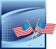 American flags on blue halftone banner Stock Photos