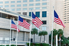 American Flags and business buildings Royalty Free Stock Image