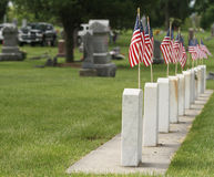 American Flags at Cemetery Royalty Free Stock Images