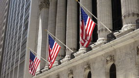 American Flags And Classical Architecture Stock Images