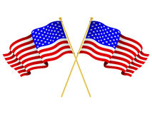 American Flags Crossed. A pair of american flags crossed stock illustration