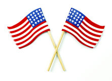 American flags crossed  on white Royalty Free Stock Images
