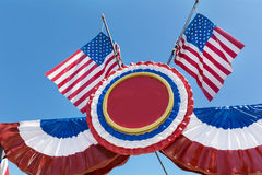 American  flags decoration on a blue sky background Stock Image