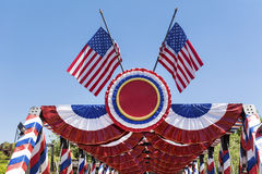 American  flags decoration on a blue sky background Royalty Free Stock Photo