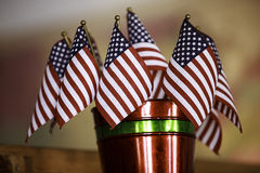 American Flags. Displayed in a bucket stock photography