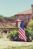 American flags displayed in honor of the 4th of July Stock Photos