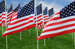 American Flags in Field. Closeup of a large group of American Flags in a field of grass with a blue cloudy sky stock photography