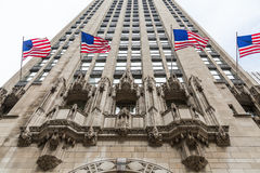 American Flags Flying on Chicago Skyscraper Royalty Free Stock Photos