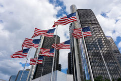 American Flags in GM Building. American flags waving in front of GM Headquarter in Detroit Stock Photo