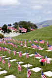 American Flags and Headstones at United States National Cemetery Stock Image