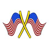 American flags icon cartoon Stock Image