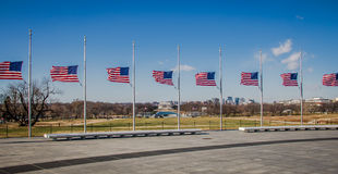 American Flags with Lincoln Memorial on background - Washington, D.C., USA Royalty Free Stock Images