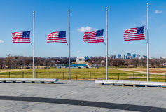 American Flags with Lincoln Memorial on background - Washington, D.C., USA Stock Photo