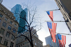 American flags in Manhattan Stock Photography